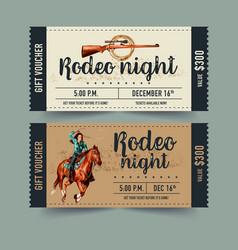 Cowboy ticket design with horse gun watercolor vector