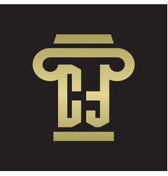 ct logo monogram with pillar style design vector image