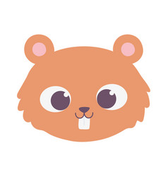 cute beaver animal face cartoon isolated design vector image