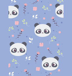 cute panda faces flowers leaves decoration vector image