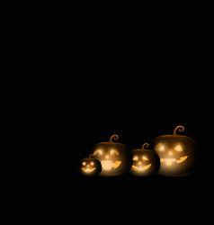 dark cute halloween pumpkins on black background vector image