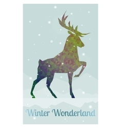 deer in snowy winter ambience vector image