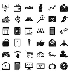 Digital market icons set simple style vector