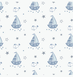 doodle marine seamless pattern vector image