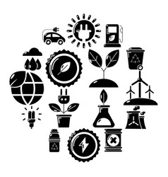 ecology icons set simple style vector image