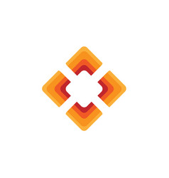 Elegant square diamond shape with orange color vector