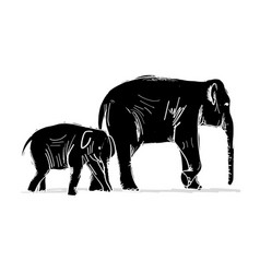 Elephant mother with child sketch for your design vector