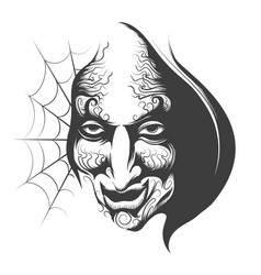 Evil wizard face vector