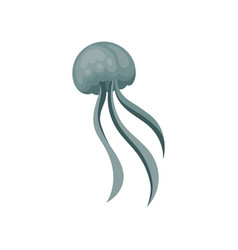 flat icon of blue swimming jellyfish vector image