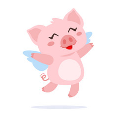 flying pig with wings vector image