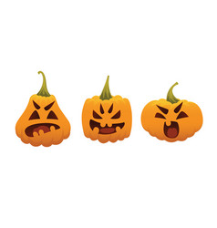 funny smiling halloween pumpkins vector image