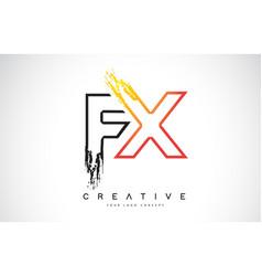 Fx creative modern logo design with orange and vector