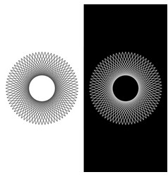 Geometric round spiral line art isolated vector