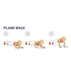 Girl doing woman doing plank walk up exercise vector
