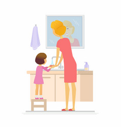Girl washing her hands - cartoon people character vector