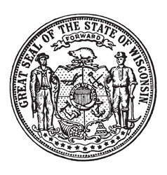 great seal state wisconsin vintage vector image
