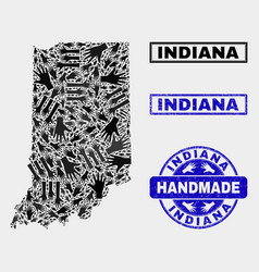 Handmade composition indiana state map and vector