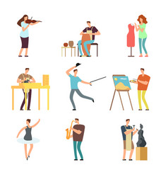 Happy people of art and music cartoon artists vector