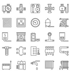 Heating and boiler room outline icons set vector