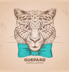 Hipster animal guepard hand drawing vector