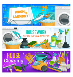 housework cleaning clean laundry washing banners vector image