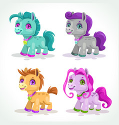 Little cute colorful pony characters vector