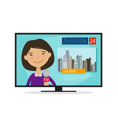 Live news young woman newscaster with microphone vector