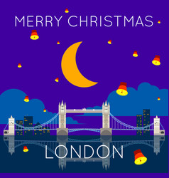 London bridge merry christmas poster vector