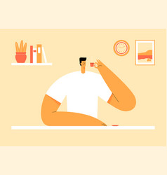 Man sitting at table and drinking coffee cozy vector