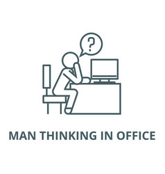 man thinking in office line icon linear vector image
