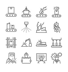 manufacturing line icon set vector image