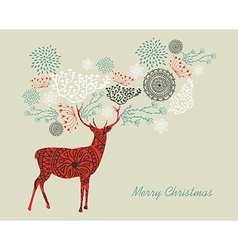 Merry Christmas text vintage reindeer composition vector