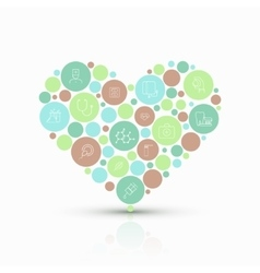 Modern concept heart with flat outline vector