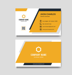 modern orange business card background vector image