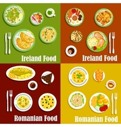 National dishes of irish and romanian cuisines vector