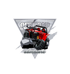 Off-road atv buggy logo adventure in the mountains vector