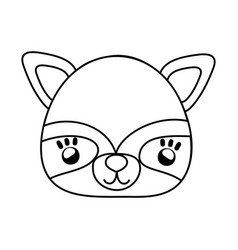 outline cute raccoon head with costume mask vector image