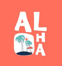 palm print design with aloha slogan vector image