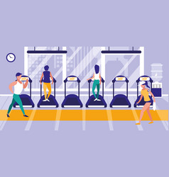 People on treadmill in gym icon vector