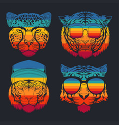 predator cat collection retro vector image