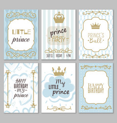 Prince frames cute boy party invitation shower vector