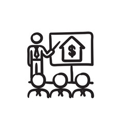Real estate training sketch icon vector