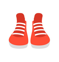 red sneakers on a white vector image