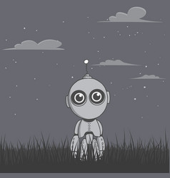 Robot stands in the night field vector