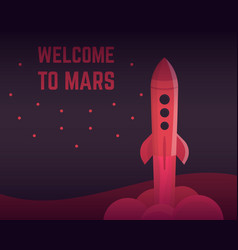 rocket in red colors vector image