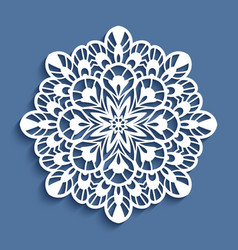 round lace doily cutout paper pattern vector image