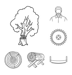 Sawmill and timber outline icons in set collection vector