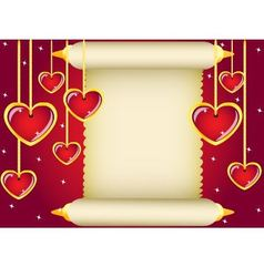 scroll and hearts vector image