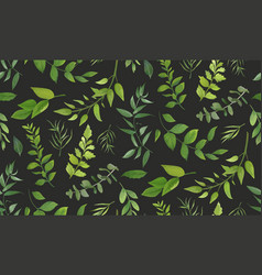 Seamless pattern of eucalyptus palm leaf fern vector