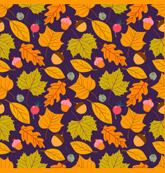 Seamless pattern with acorns and autumn oak vector
